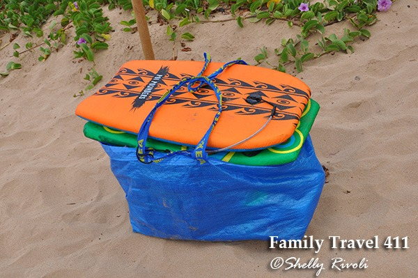 Boogie boards and beach towels, compliments of our Maui vacation condo's owner.