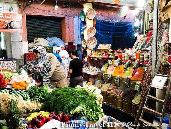Shopping for spices at mellah market Marrakech.