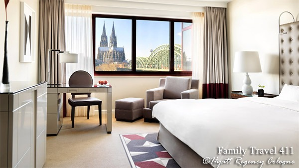 A Rhine View Room at the Hyatt Regency Cologne, Germany.