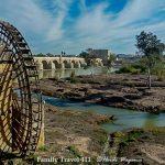 The Roman Bridge at Cordoba with ancient water wheel.