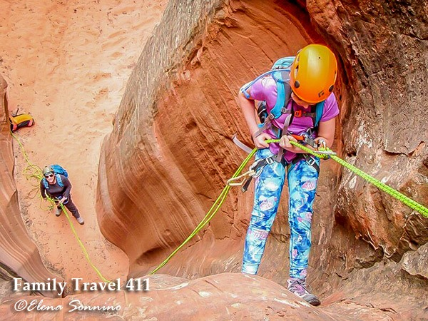 canyoneering adventure while visiting Zion with kids.