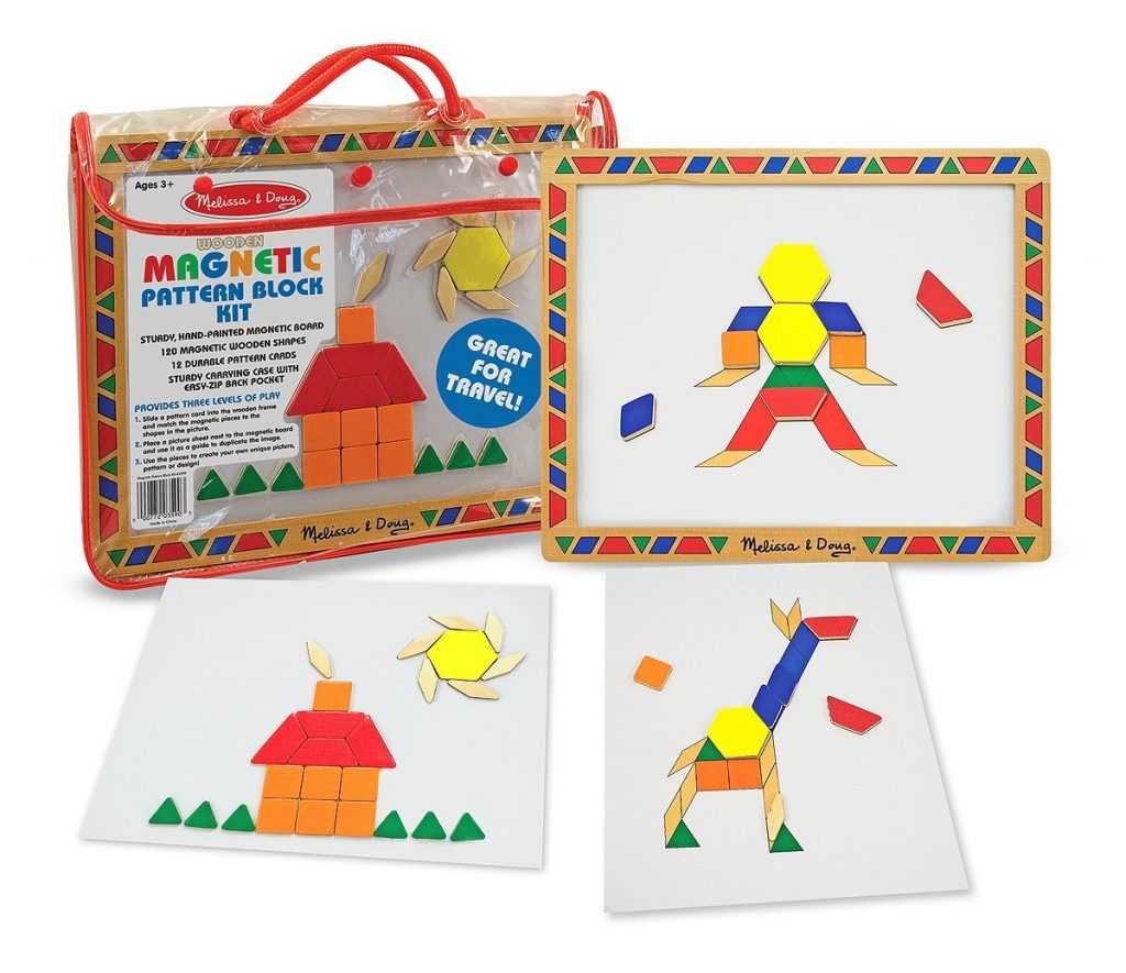 Melissa & Doug's magnetic pattern blocks.