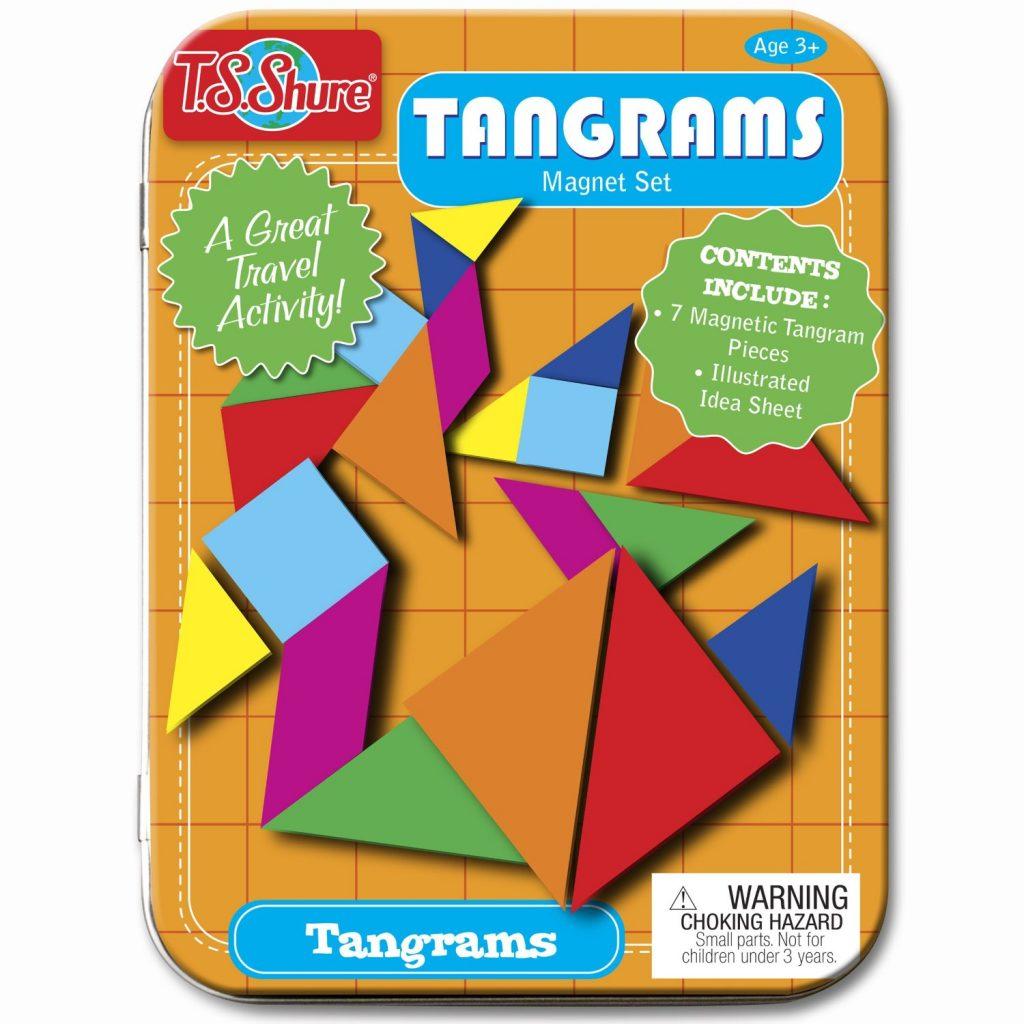 Take-along tangrams in travel tin.