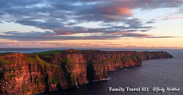 The Cliffs of Moher at sunset.