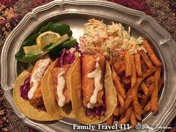 Fish tacos at family-friendly Bass Tavern in Truro.