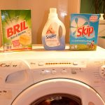 Five travel laundry hacks for families - Paris apartment washing machine