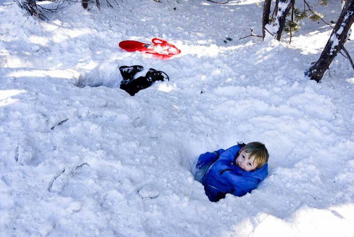 Kids digging deep into snow near Tahoe