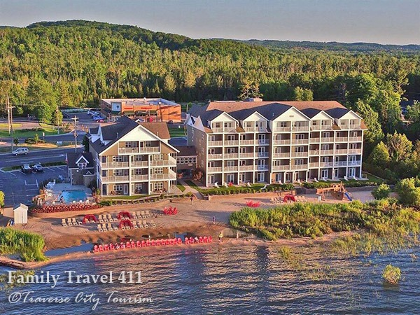Kid-friendly and beachfront Cherry Tree Inn & Suites at Traverse City.