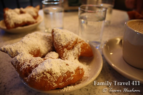 Kid-pleasing beignets at Cafe du Monde, New Orleans.