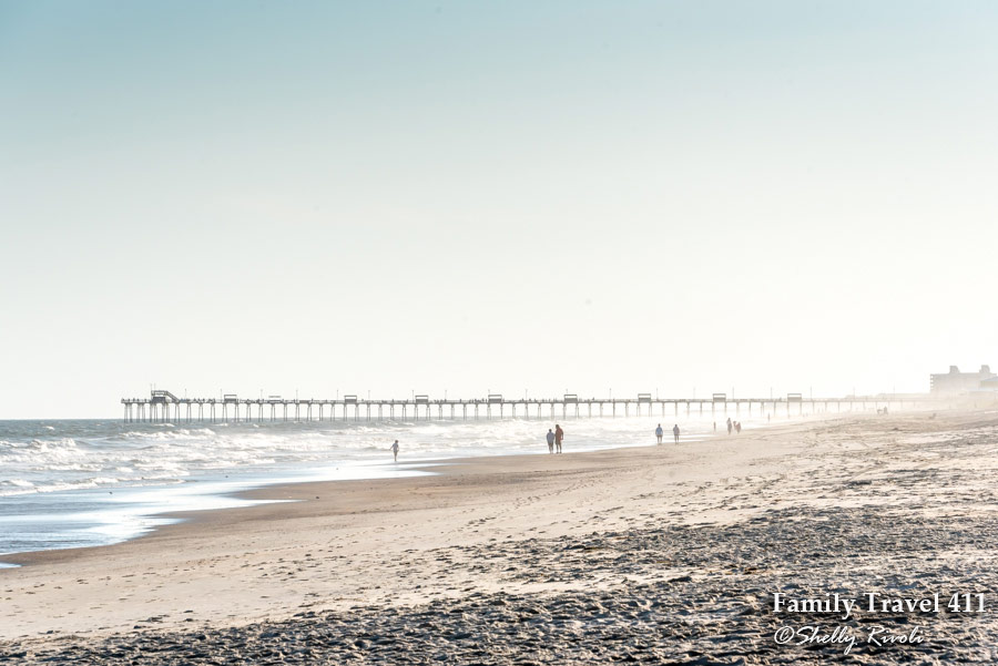 The wide beach near Bogue Inlet Pier on Emerald Isle of the Southern Outer Banks or Crystal Coast.