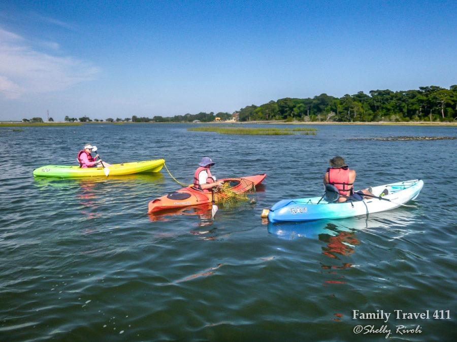 Kayaks on Bogue Sound on North Carolina's Crystal Coast.