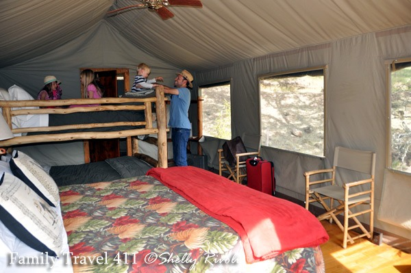 Plenty of room and beds to sleep six in our Deluxe Hillside Family Tent at Safari West Wildlife Preserve.