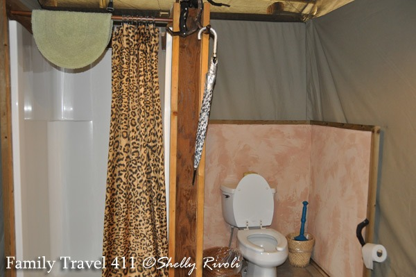 Hot shower and flush toilet?  Now that's my kind of tent!