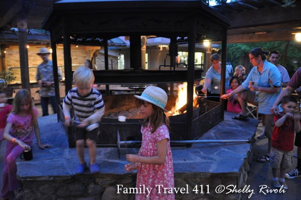 Roasting marshmallows after dinner at the outside grill. And yes, there is hot chocolate to go with it, too.