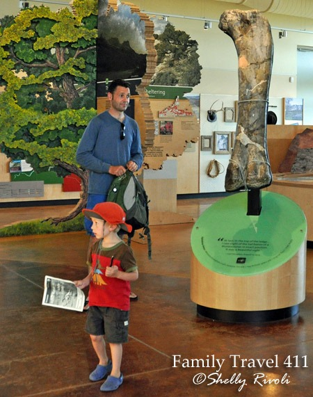 Child with Junior Ranger booklets at Quarry Visitor Centerat Dinosaur National Monument.