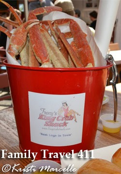 A bucket of fresh-caught crab at Tracy's King Crab Shack.