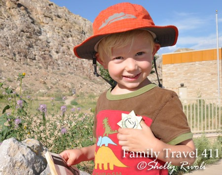 Dinosaur National Monument with kids, our new Junior Paleontolgist with Jr. Ranger badge