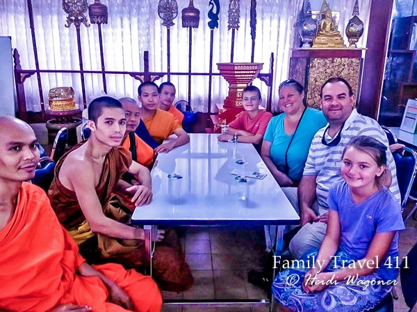 Monks in Chiang Mai with visiting family