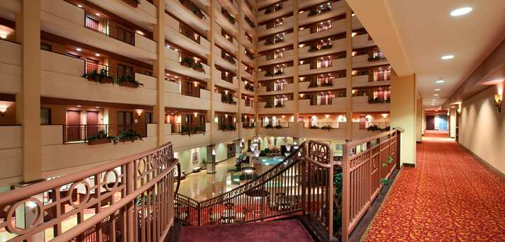 Inside the Embassy Suites Huntsville.