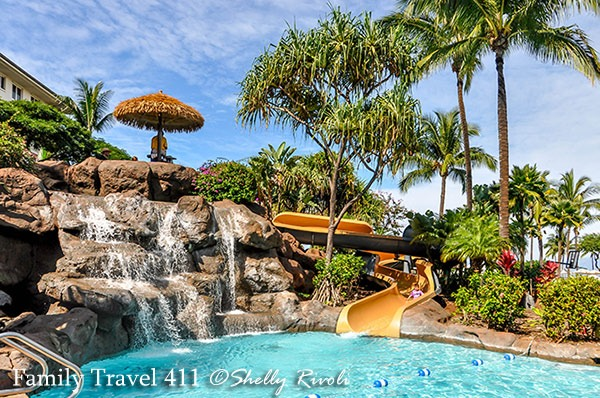 The South Pool with its water fall and water slide at the Westin Kaanapali Ocean Resort Villas.