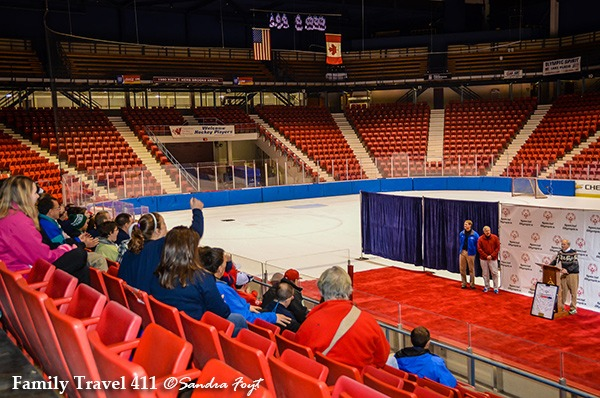 Inside the Lake Placid Olympic Ice Rink.