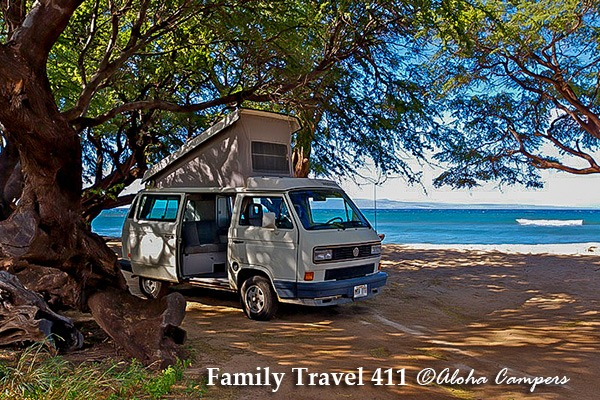 A Volkswagen Westfalia campervan from Aloha Campers in Maui.