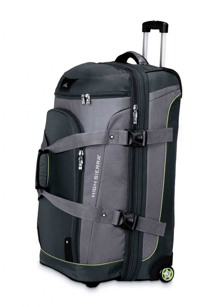 "The High Sierra Sierra-Lite 32"" drop-bottom duffel. It even has hidden backpack straps for that hotel sans elevator."