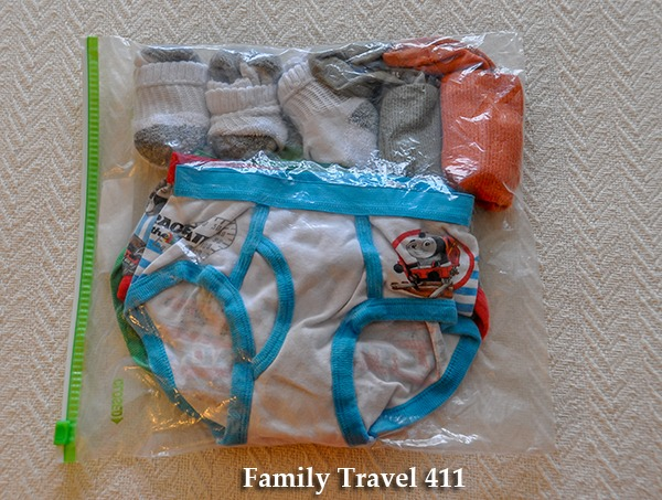 Fresh underpants and socks are easy to find with their own zip-top freezer bag.