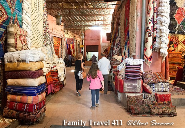 Inside a Marrakech carpet souk with kids