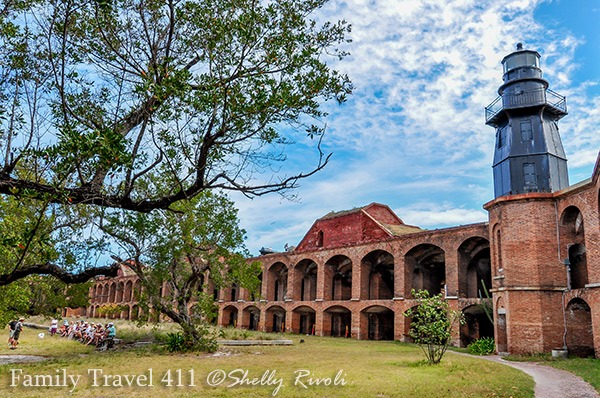 courtyard inside Fort Jefferson with lighthouse at Dry Tortugas