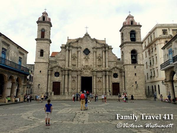 Standing in the Plaza de la Catedral, Havana.