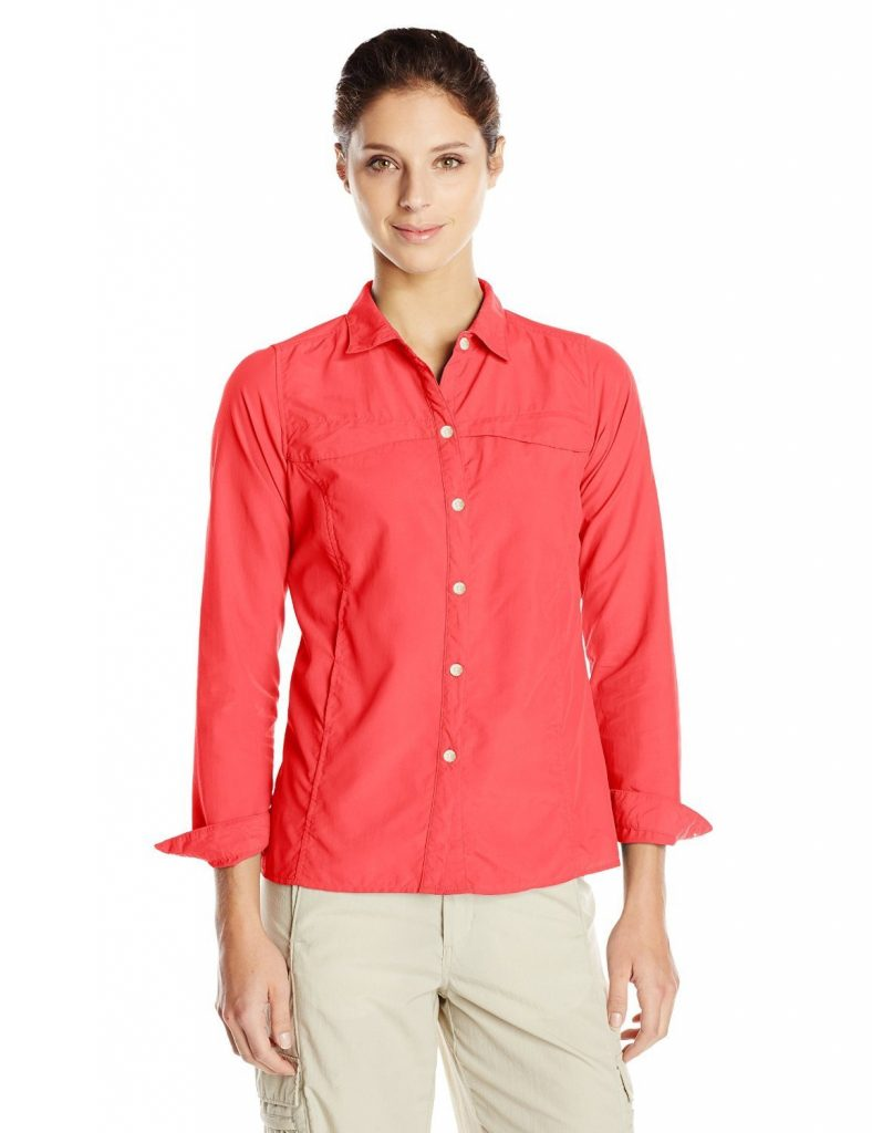This quick-dry BugsAway shirt from ExOfficio not only helps prevent mosquito bites, but it also has built-in vents, a hidden security pocket, and provides UPF 30 sun protection.