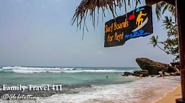 Year round surfing and kid-safe swells await on Sri Lanka.