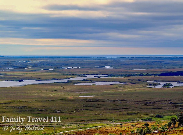 A view from the bogs to the Atlantic at Connemara National Park.