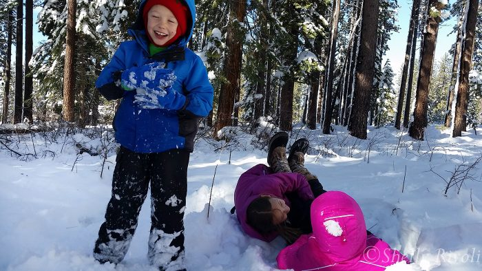 kids frolicking in snow at South Lake Tahoe