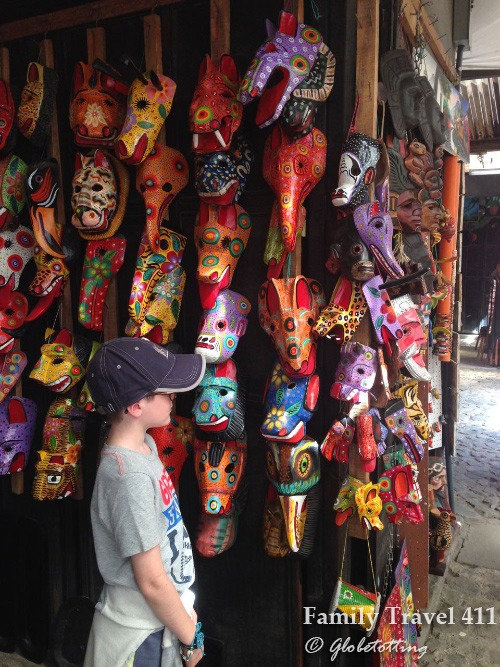 Souvenir shopping at the Market while visiting Antigua with kids.