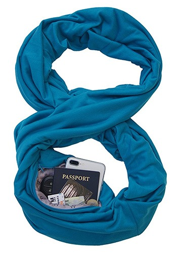 infinity scarf with hidden pocket is great for traveling abroad