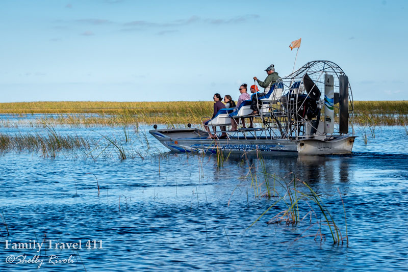 tourists on an airboat in the Everglades at Sawgrass Recreation Park, Florida