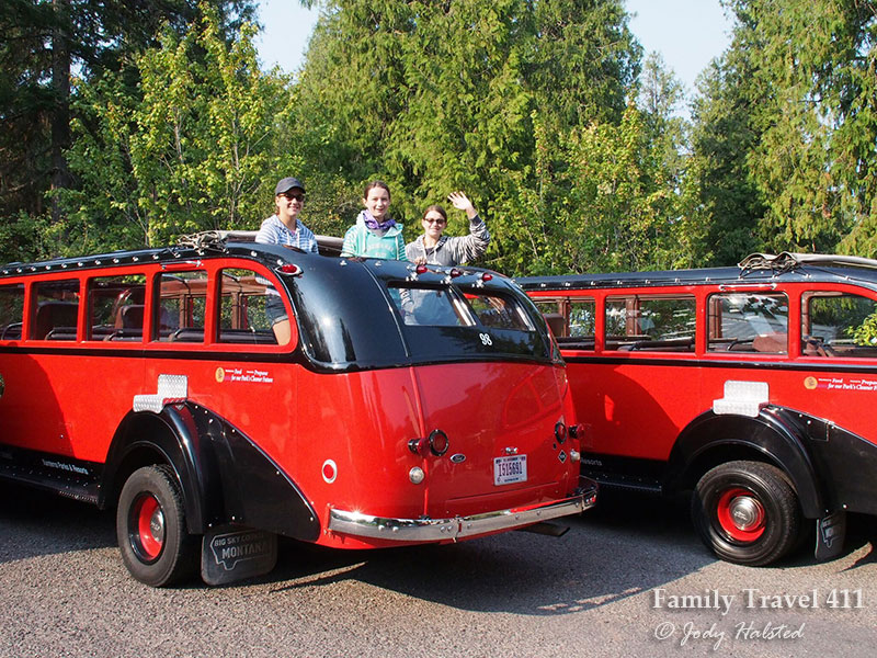 Red Bus of Glacier National Park with kids