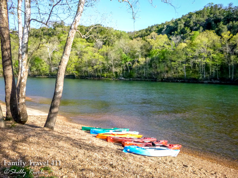 Kayaks at Lake Taneycomo in Branson, Missouri