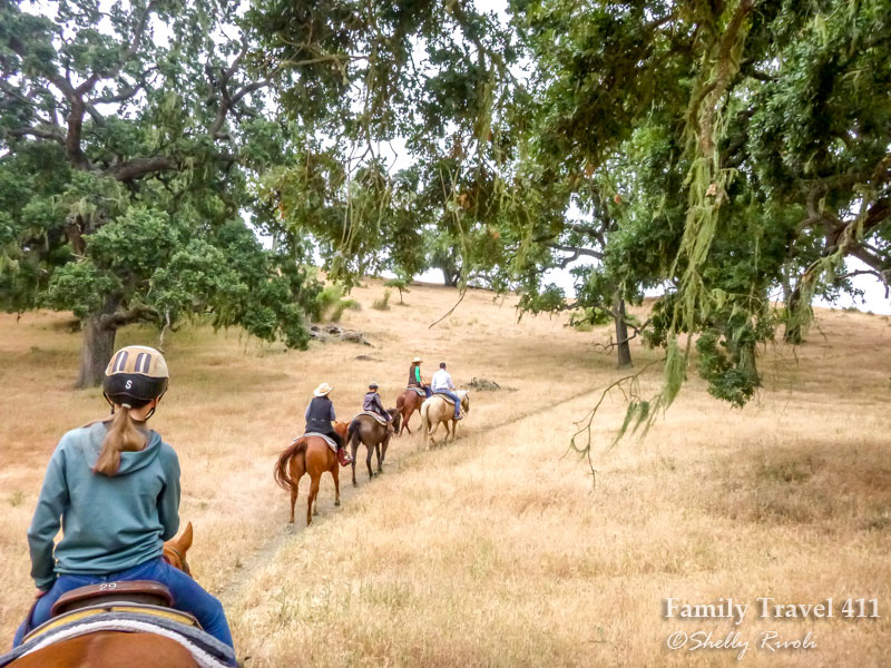 group of people on horseback riding through oak trees with lichen