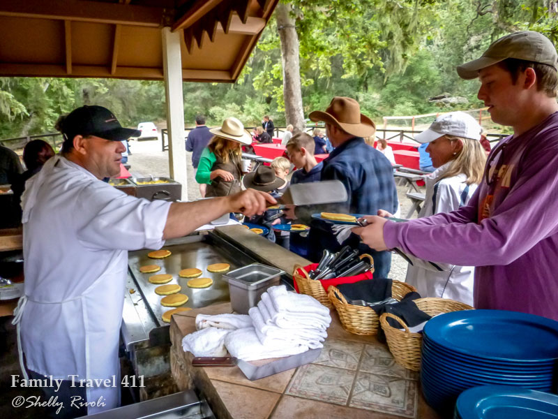 Breakfast served hot off the griddle for guests on The Alisal's breakfast ride.