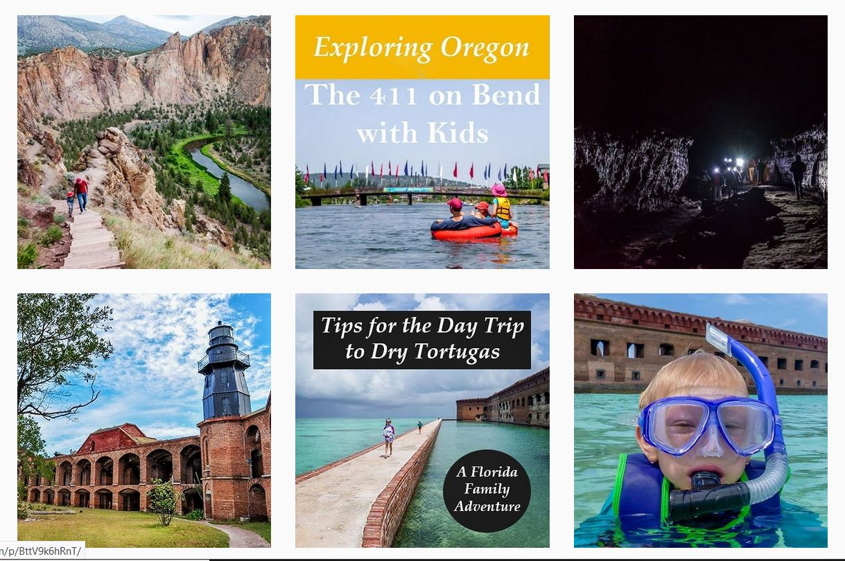 Instagram posts for Family Travel 411 guides to Bend, Oregon, and Dry Tortugas National Park