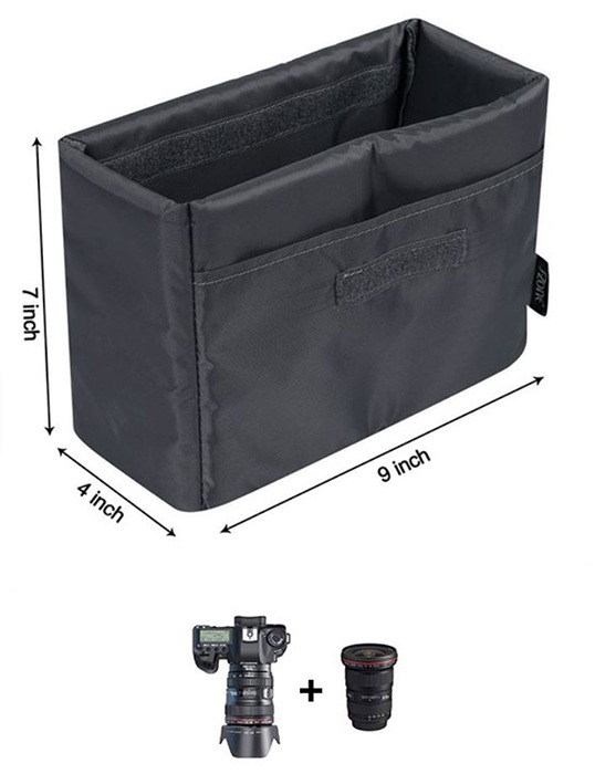 s-zone dslr padded camera insert for travel purse