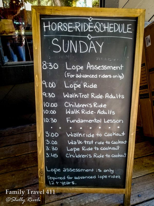 horse riding schedule at the Greenhorn dude ranch
